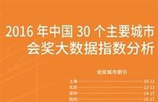 2016年中国30个主要城市会奖大数据指数分析